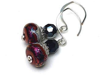 Cranberry Metallic  Drop Earrings    Black Crystal Short Dangle   Magenta Lampwork Sterling Silver Bright Eclectic