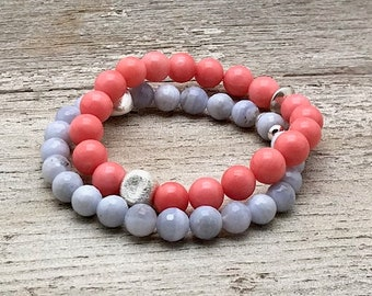 Bright Coral Blue Agate Sterling Silver Minimalist Beaded Bracelet Set   Pastel for Her Under 90 Free Gift for Mom Sister Friend
