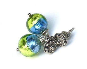 Lime Green and Blue Murano Glass Minimalist  Silver Post Earrings  Short  Stud Sterling For Her Under 60 Free Gift Wrap OOAK