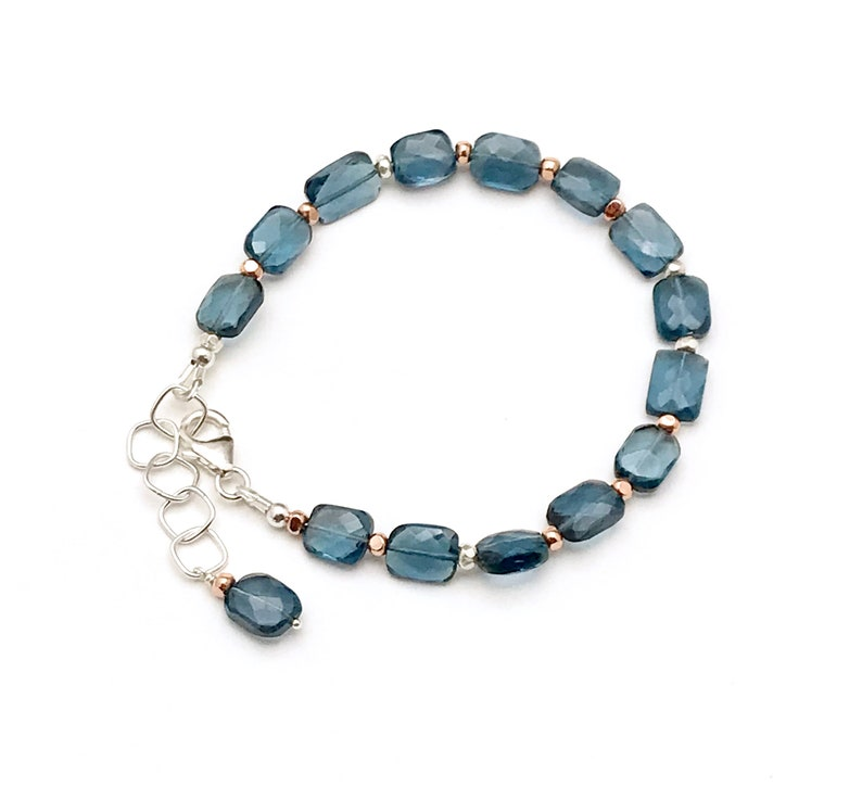 AAA Amazing Faceted Stone London Blue Topaz Clasp Bracelet Boutique Quality OOAK Chic Drop Dead Gorgeous Super Star Cool for Stacking