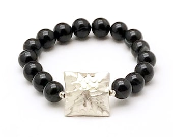 Black Sardonyx Geometric Bracelet, Huge Sterling Silver Square Focal, Neutral Urban and Timeless Gifting, OOAK Classic Boutique Style