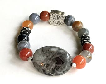 Silver Needle Agate Boho Chic Beaded OOAK  Boutique  Bracelet      Chunky Wearable Art for Her Under 275