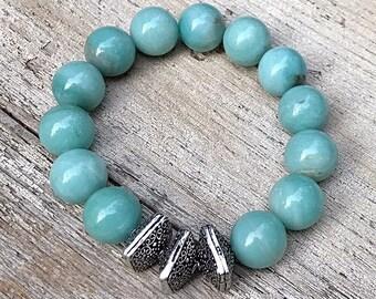 Aqua Amazonite Silver Chunky Minimalist Geometric Beaded Bracelet  Stretch Bracelet For her Under 100, Limited Edition Free Gift Wrap