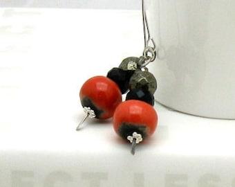 Red Black Boho Dangle Earrings, Tangerine and Pyrite Boho Beaded  Drop Earrings, For Her Under 75,