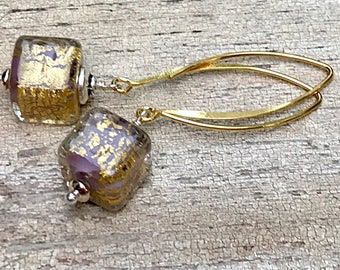 Purple and Gold Murano Glass Dangle Drop Earrings, 14k Gold Fill, Sterling Silver, Cube Geometric, for her under 75, One of a Kind