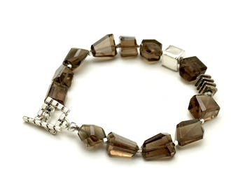 Beer Quartz Sterling Silver Geometric Nugget Beaded Clasp Bracelet  For Her Under 225 Free Gift Wrap