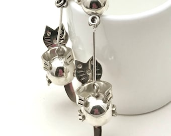 Vintage Sterling Silver Cat Dangle Drop Post Earrings Cats Playing      Minimalist earrings for her under 90  Free Gift Wrap Kitty Cat Lover