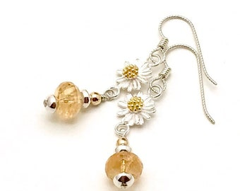 Faceted Honey Citrine Sterling Silver Gold Daisy Dangle Earrings  Minimalist for Her Under 120 Delicate Drop Feminine One of  Kind  Flower