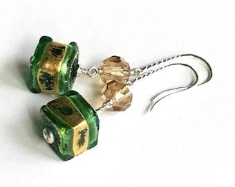 Green Gold Sterling Earrings  Murano Glass Silver Geometric Dangle Earrings