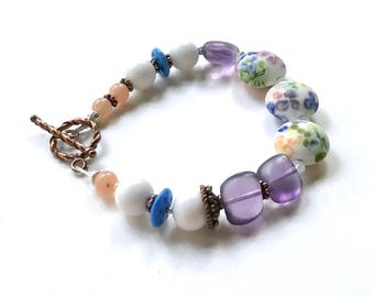 Purple and White Floral Lampwork Boho Beaded Bracelet with Copper, for Her Under 125  Free Gift Wrap