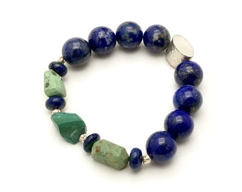Lapis and Chrysoprase Beaded Bracelet Boutique Eclectic Bracelet     Lapis Lazuli Chrysoprase OOAK Eclectic Blue and Green