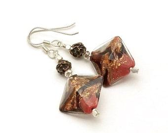 Bronze Silver Earrings Coral Lampwork OOAK Earrings Cool Dangle Mixed Metals  Eclectic Earrings