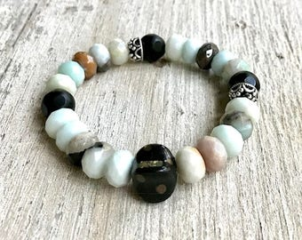 Faceted Amazonite Black Agate Silver Minimalist Beaded Bracelet   For Her Under 120 Free Gift Wrap One of a Kind