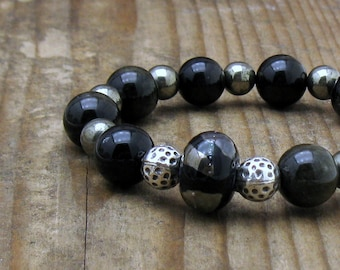 Black Obsidian and Pyrite Modern Beaded Bracelet, by cooljewelrydesign, For Her Under 225