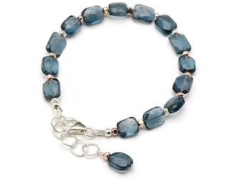 London Blue Topaz Clasp Bracelet, AAA Faceted Stone, Cool & Classy Geometric Slim Expandable, Classic Boutique Style Timeless Glam