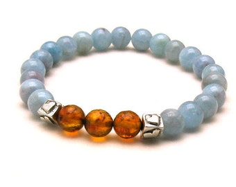 Aquamarine and Baltic Amber Luxe Minimalist Beaded Bracelet       For Her Under 300 Wife Girlfriend Mom Gift  Sterling Silver OOAK