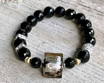 Metallic Murano Glass Onyx Rhinestone Beaded Minimalist Bracelet   for her Under 175 One of a Kind Free Gift Wrap