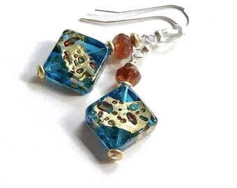 Teal Gold Murano Glass Hesonite Garnet Geometric Dangle Earrings, Minimalist, for Her Under 80, Free Gift Wrap