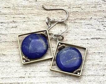 Lapis Lazuli Sterling Silver Brass Geometric Dangle Drop Earrings   Minimalist Dark Blue for her Under 80