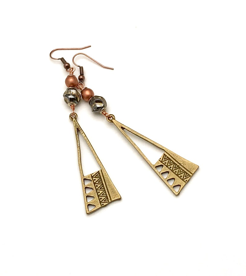 Classic Boutique Style Cool and Eclectic All Metallic Neutral Textured Open Pattern Triangles Timeless Brass Geometric Dangle Earrings