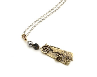 Etched Brass Pendant Necklace, Silver and Black Stone Embellishment, Edgy and Fun, Cool and Eclectic, Boutique Style Mixed Metals