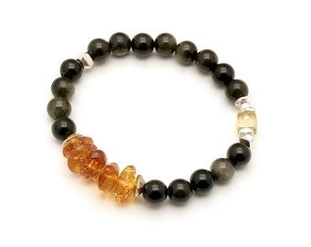 Amber Obsidian Citrine Bracelet, Urban Edgy Vibe, OOAK Cool and Eclectic, Classic Boutique Style, Timeless Gorgeous Beaded Bracelet