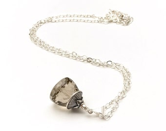 Smoky Faceted Quartz AAA Stone Sterling Silver Pendant Necklace   Minimalist Gorgeous Clarity Delicate for Her Under 150  Cool Beautiful