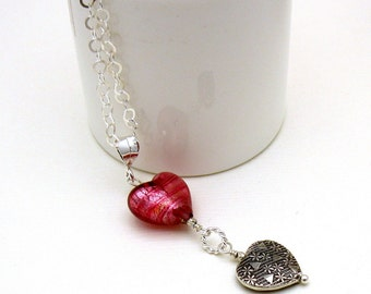 Pink Raspberry Heart Sterling Silver Pendant Minimalist Necklace    Murano Glass for Her Under 120