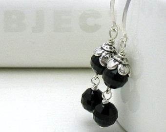 Black Crystal Silver  Floral Minimalist Dangle Drop Earrings      For Her Under 60, OOAK, Flower Power Sister Friend Mom Gift