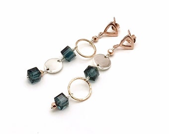 Long Teal Blue Geometric Earrings, Sterling Silver Rose Gold, Lightweight Slinky OOAK Cool & Eclectic, Classic Boutique Style, Timeless