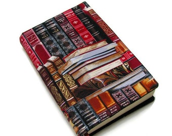 Book cover, TRADE SIZE, OPTIONAL matching laminated bookmark, large paperback, bathroom reader, cotton, padded cover, Gold gilt edged books