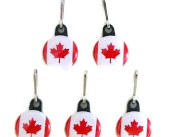 5 ZIPPER PULLS, Canadian Flags, Patriotic, Canada Day