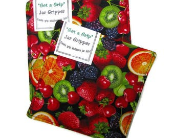GET A GRIP Jar Grippers, set of two, jar lid openers, cotton, Fresh fruit on black
