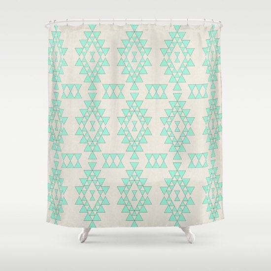 Geometric Mint Fabric Shower Curtain Beige And Green Geo