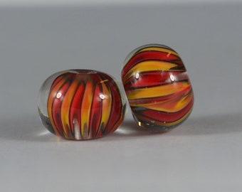 Red, Orange and Black - Matching Pair of Lampwork Beads handmade by DKS Lampwork