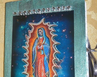 Our Lady of Guadalupe, Prayer journal with pockets,  Christian diary,prayer diary ,junk journal, smash book ,purse notebook,mini journal