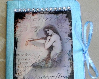 Mermaid notebook, travel journal with pockets,fantasy travel journal, mini travel journal, teen gift, smash book ,purse notebook,