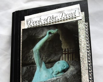altered book, Halloween journal, Book of the Dead,  handmade junk journal, gothic  journal, spooky diary, mixed media,interactive journal