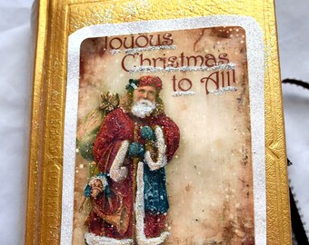 handmade Christmas memory journal, altered book, Vintage Christmas, interactive  journal, Christmas junk journal, journal with pockets,