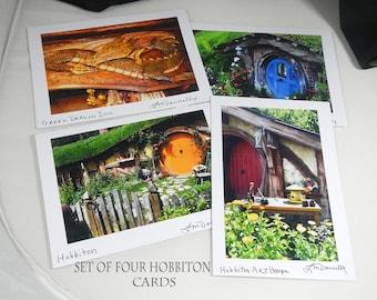 Set of four blank greeting cards, Hobbiton movie set, photo A7 greeting cards, hobbit house cards, Green Dragon Inn, hobbit birthday cards