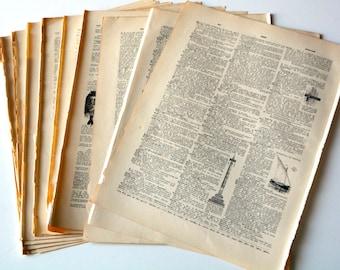 Vintage dictionary pages,1895 ephemera pack , 15 extra  large original pages, , DIY junk journal supplies, art journals,paper supplies