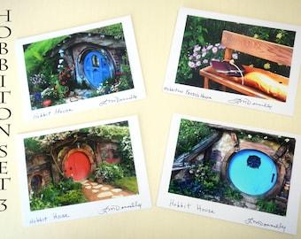 Set of four blank greeting cards, Hobbiton movie set, photo A7 greeting cards, hobbit house note cards, hobbit birthday cards, hobbit decor