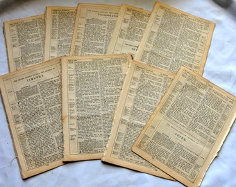 1878 original Bible Pages, vintage pages, Vintage Paper, prayer journals, DIY upcycle, Bible journaling, old Bible pages, 35 Ephemera pages