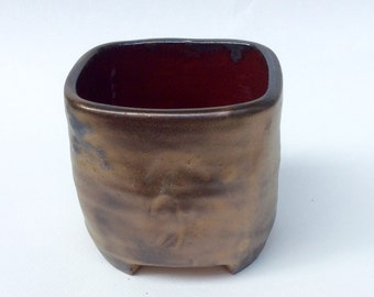 bronze and burgundy planter for succulents, pencil holder, serving pot, vase, pottery, ceramic, home decor handmade and ready to ship