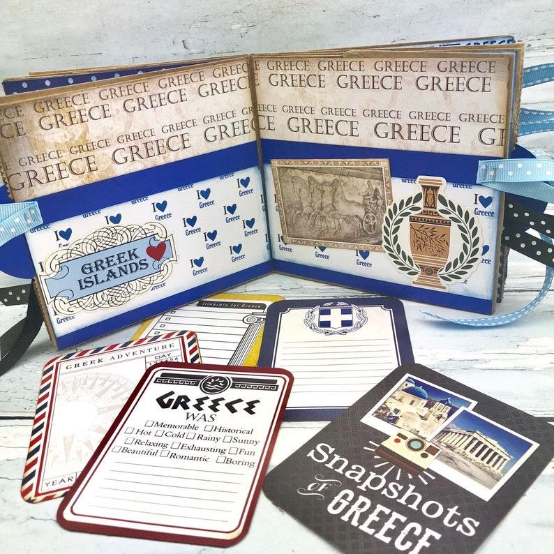 Premade 6 Paper Bag Photo Album Greek Traveler/'s Notebook Greece Mini Vacation Scrapbook