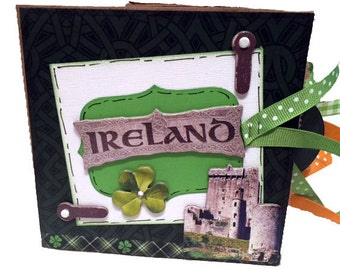 Ireland Scrapbook - Emerald Isle - Ireland Travel Scrapbook - Vacation mini - Ireland photos - Paper Bag Travel Album - Mini Scrapbook