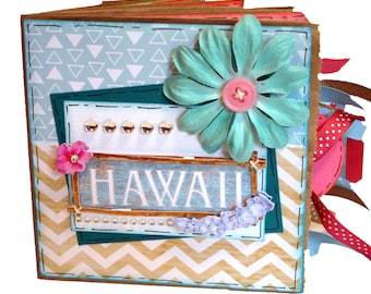 Hawaii Scrapbook - Hawaii Honeymoon - Honeymoon Scapbook - Vacation Scrapbook - Hawaiian Vacation Scrapbook - Mini Travel Paper Bag Album