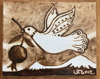 "Original Armenian Coffee Painting - ""Aghavnie"". (Dove)"