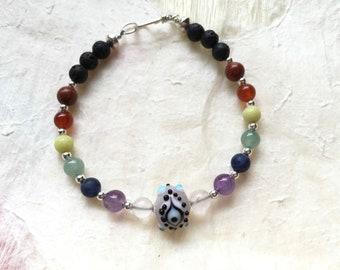 Lavender Eye Bead and Seven Chakra Aromatherapy Bracelet