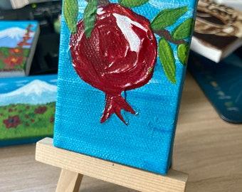 Teeny Tiny Miniature Original Painting - Noor/Pomegranate